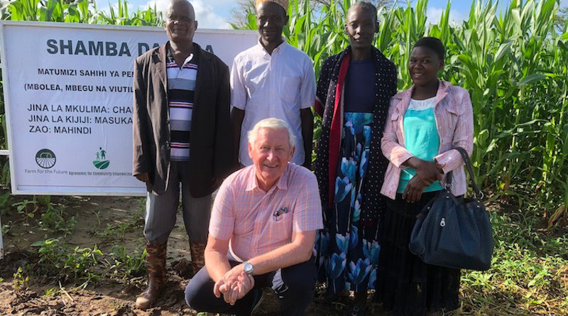 Norwegian entrepreneur and project manager Osmund Ueland posing with some farmers at Masukanzi village in Iringa Tanzania. Credit: Kizito Makoye