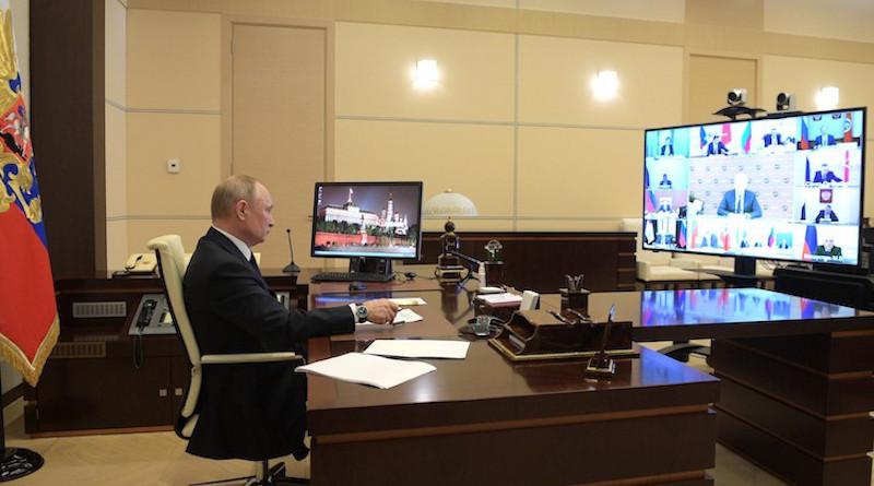 Russia's President Vladimir Putin holds virtual meeting with regional heads on combatting the spread of the coronavirus in Russia. Credit: en.kremlin.ru