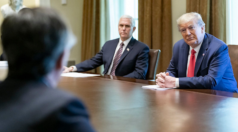 President Donald J. Trump, joined by Vice President Mike Pence, meets with patients Tuesday, April 14, 2020, who have recovered from the COVID-19 Coronavirus, in the Cabinet Room of the White House. (Official White House Photo by Shealah Craighead)