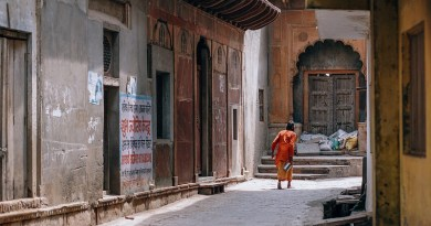 India Empty Street Asia Bucket Carrying Colorful Culture Dress Head