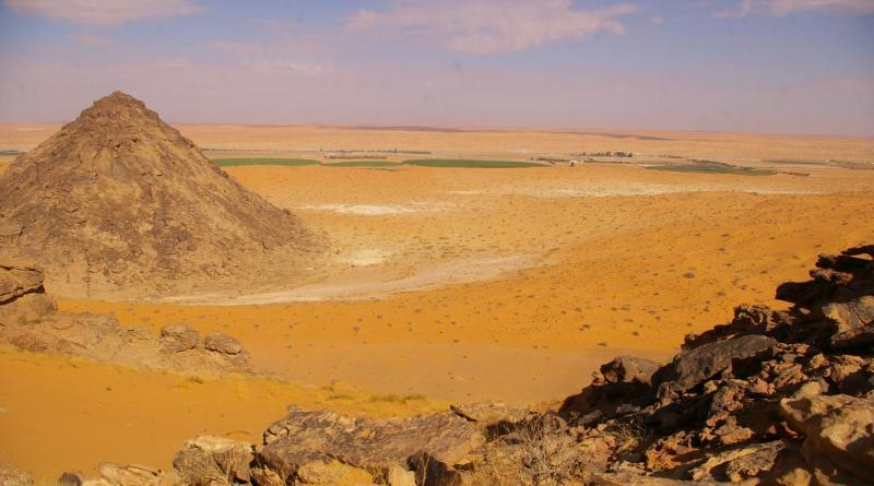 The Jubbah Oasis today with modern farming on the desert floor. In the past, this area would have been a wetland and lake region. CREDIT Palaeodeserts Project