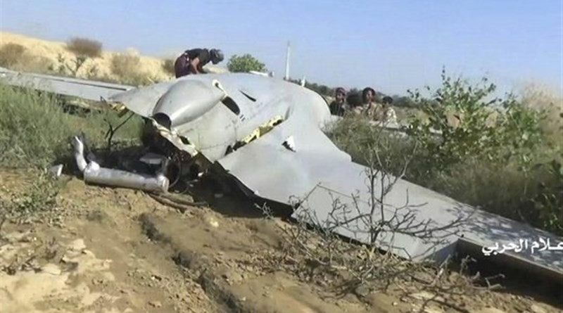 Yemeni troops shot down a Saudi drone as it was on a reconnaissance mission over the Razeh district in Sa'ada. Photo Credit: Tasnim News Agency