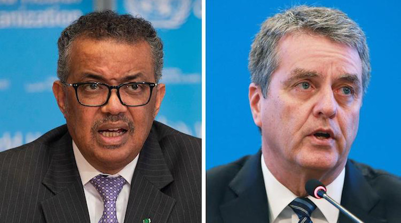 WHO Director-General Tedros Adhanom Ghebreyesus (left) and WTO Director-General Roberto Azevêdo (right). Credit: WHO/WTO