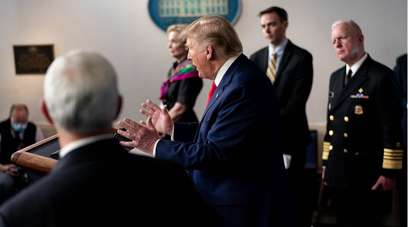 President Donald J. Trump, joined by Vice President Mike Pence and members of the White House Coronavirus (COVID-19) Task Force, in the James S. Brady White House Press Briefing Room of the White House. (Official White House Photo by Andrea Hanks)