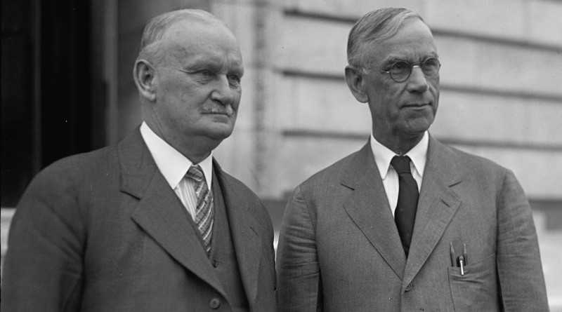 Willis C. Hawley (left) and Reed Smoot in April 1929, shortly before the Smoot–Hawley Tariff Act passed the House of Representatives. Photo Credit: United States Library of Congress