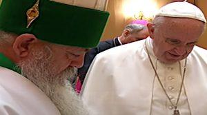 World leader of the Bektashis of Albania, Baba Edmond Brahimaj, with Pope Francis. Photo Credit: Screenshot of Albania News