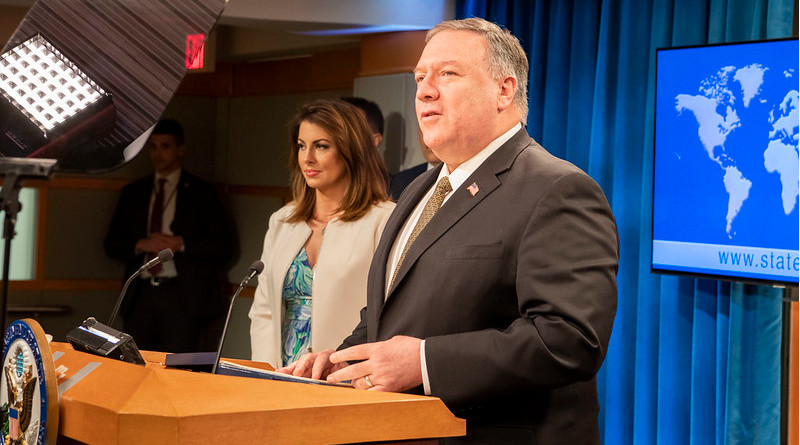U.S. Secretary of State Michael R. Pompeo delivers remarks to the media in the Press Briefing Room, at the Department of State in Washington, D.C., on April 22, 2020. [State Department photo by Freddie Everett/ Public Domain]