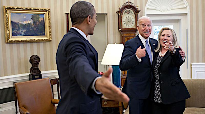 US President Barack Obama with Vice President Joe Biden and Hillary Clinton. Photo Credit: White House