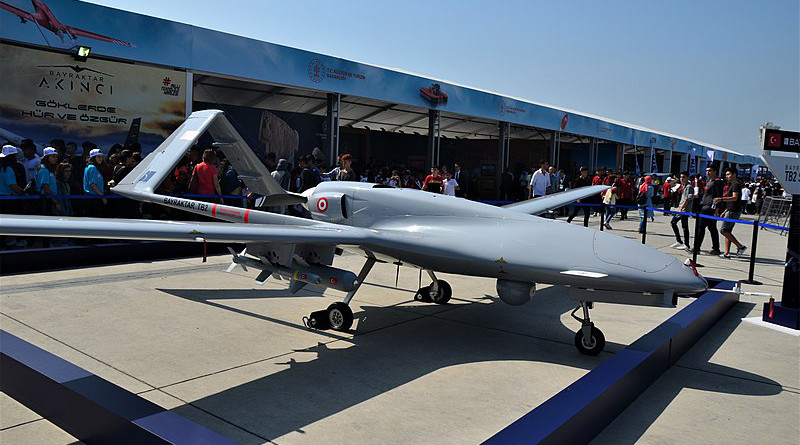 File photo of Turkey's unmanned aerial vehicle Bayraktar TB2 (drone). Photo Credit: CeeGee, Wikipedia Commons