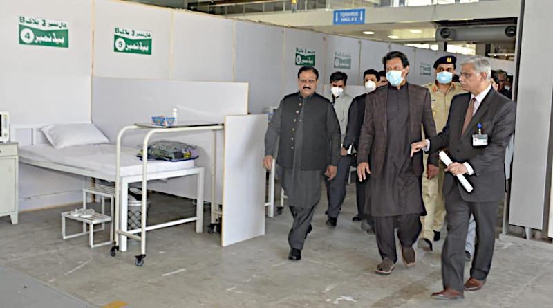 Pakistan's Prime Minister Imran Khan along with Chief Minister Punjab Sardar Usman Bazdar visit the Coronavirus Quarantine Center established at the Expo Center Lahore, Pakistan. Photo Credit: Government of Pakistan, Twitter