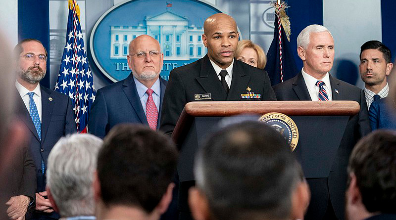 U.S. Surgeon General Vice Admiral Jerome Adams, joined by Vice President Mike Pence and members of the White House Coronavirus Taskforce at a press briefing. Photo Credit: Official White House Photo by D. Myles Cullen