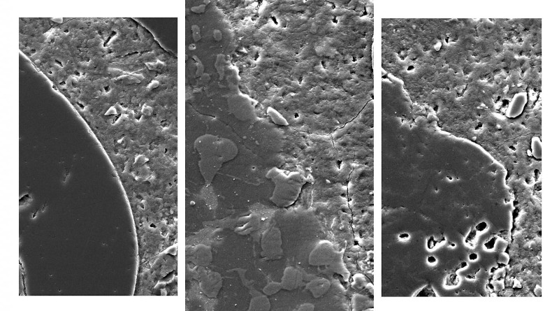 Magnified images showing concrete made with treated slag (centre), conventional aggregates (left) and raw slag (right). The treated slag forms a more seamless bond with the cement paste, making the concrete stronger. CREDIT RMIT University