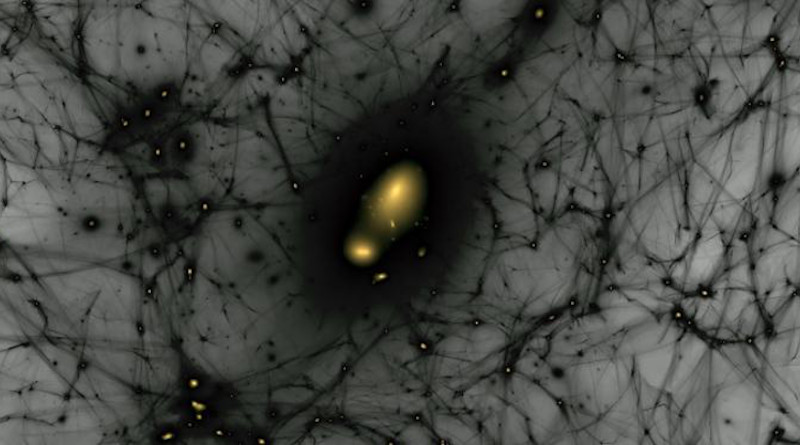 A still image from a simulation of the formation of dark matter structures from the early universe until today. Gravity makes dark matter clump into dense halos, indicated by bright patches, where galaxies form. In this simulation, a halo like the one that hosts the Milky Way forms, and a smaller halo resembling the Large Magellanic Cloud falls toward it. SLAC and Stanford researchers, working with collaborators from the Dark Energy Survey, have used simulations like these to better understand the connection between dark matter and galaxy formation. CREDIT Ralf Kaehler/SLAC National Accelerator Laboratory