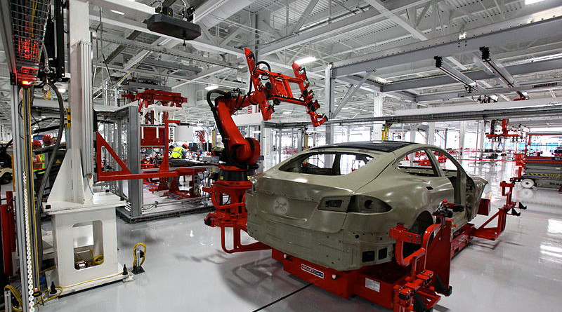 Tesla Model S assembly at the Tesla Factory in Fremont, California. Photo Credit: Steve Jurvetson, Wikipedia Commons.