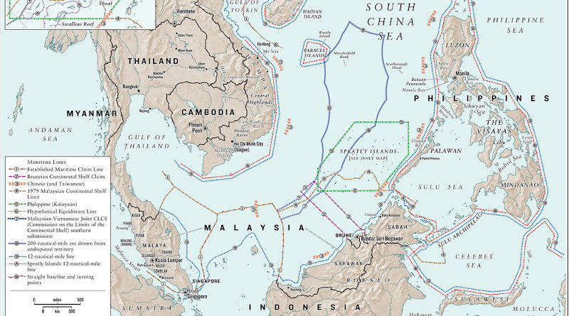 Detail of map showing maritime claims in South China Sea