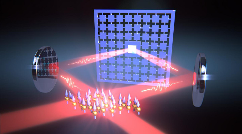 A loop of laser light connects the oscillations of a nanomechanical membrane and the spin of a cloud of atoms. CREDIT University of Basel, Department of Physics