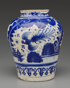 Jar from Mexico, 18th century: Blue-and-white ceramic arts spread, each culture adding its own style (Source: Yale University Art Gallery)