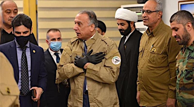 Iraq's newly-elected Prime Minister Mustafa al-Kadhimi visits Hashad al-Sha'abi command center and poses with a Hashad uniform. Photo Credit: Fars News Agency