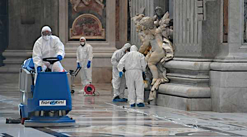 Workers cleanse St. Peter's Basilica ahead of its reopening. Credit: Vatican Media