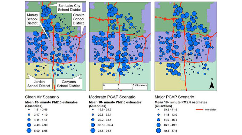 Mean 10-min PM 2.5 levels for each 48-hour scenario at the Salt Lake County schools during a clean, moderate winter persistent air pool (PCAP, inversion) and major PCAP event. The bigger the blue dot, the higher the concentration of PM 2.5 particles. In all three scenarios, the lowest PM 2.5 concentrations were on the south and east side of the study area along the bench where elevation ascends from the valley floor. CREDIT: Mullen et. al. Enviro Res (2020)