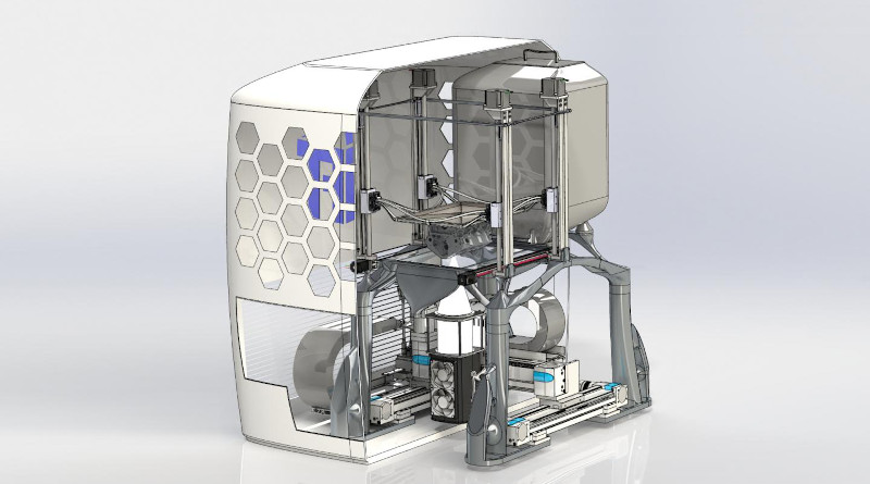 The 3D printer developed at TU Graz melts metal powder using high-performance LED light sources and then processes it into components in additive manufacturing. CREDIT © TU Graz