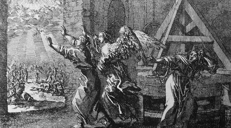 The Rapture: One at the mill. Jan Luyken etching - Bowyer's Bible, Bolton, England