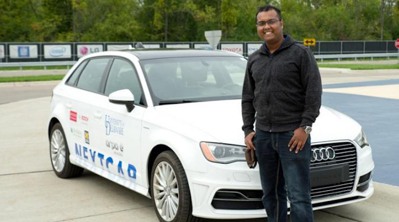 UD doctoral student A M Ishtiaque Mahbub is the first author of two new technical papers published by SAE -- formerly known as the Society of Automotive Engineers -- describing how UD engineers optimized vehicle dynamics and powertrain operation using connectivity and automation as well as how they developed and tested a control framework that reduced travel time and energy use in a connected and automated vehicle. CREDIT: Photo courtesy of Ishti Mahbub