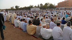 Eid al-Fitr mass prayer in Morocco. Photo Credit: Hamzaelbaciri, Wikipedia Commons