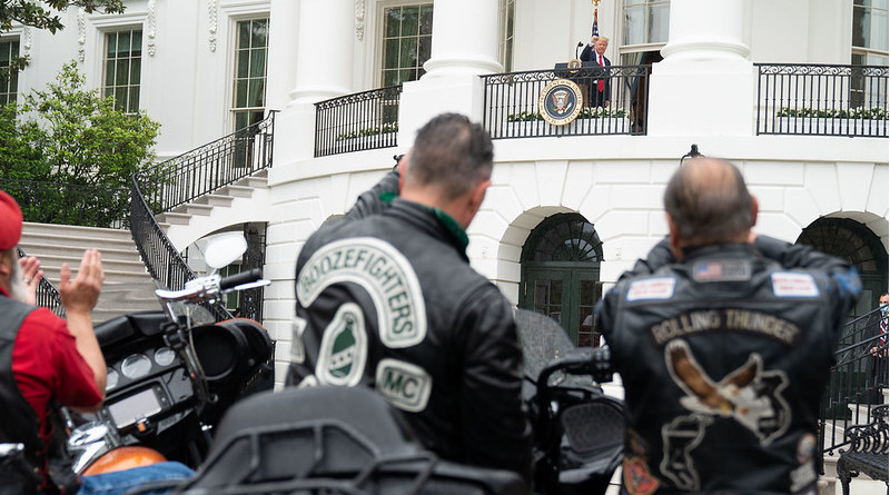 Veterans listen and applaud as President Donald J. Trump delivers remarks during the Rolling to Remember: Honoring Our Nations Veterans and POW-MIA event Friday, May 22, 2020, on the Blue Room Balcony of the White House. (Official White House Photo by Shealah Craighead)