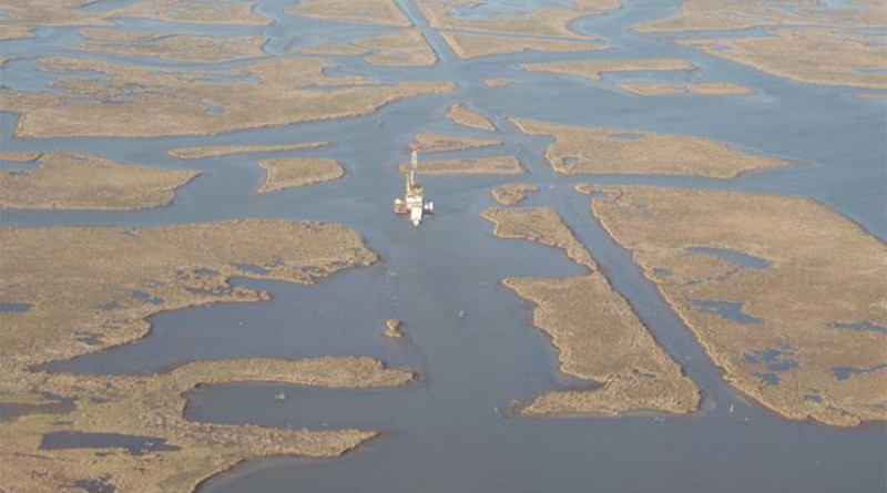 Salt marshes about 30 miles (50 km) southeast of New Orleans are vulnerable to drowning. CREDIT: Photo by Torbjörn Törnqvist