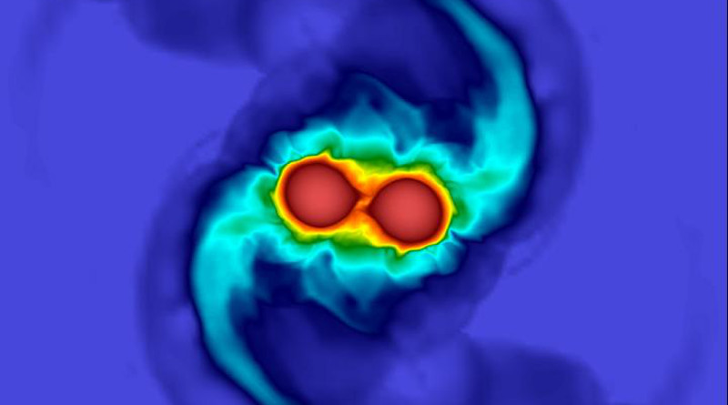 The results from a numerical relativity simulation of two merging neutron stars similar to GW170817. CREDIT: University of Birmingham