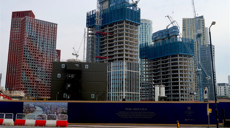Part of the massive development site at Nine Elms in Vauxhall, photographed on April 16, 2020 (Photo: Andy Worthington).