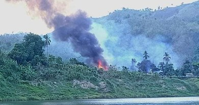 Houses burning in the abandoned village of Meeletwa (lower) in Chin State's Paletwa Township. Photo Credit: DMG
