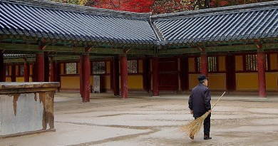 Elderly South Korea Temple Religion Faith Man Worker Fall