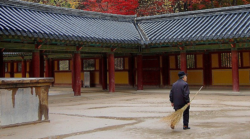 Elderly South Korea Temple Religion Faith Man Worker Fall