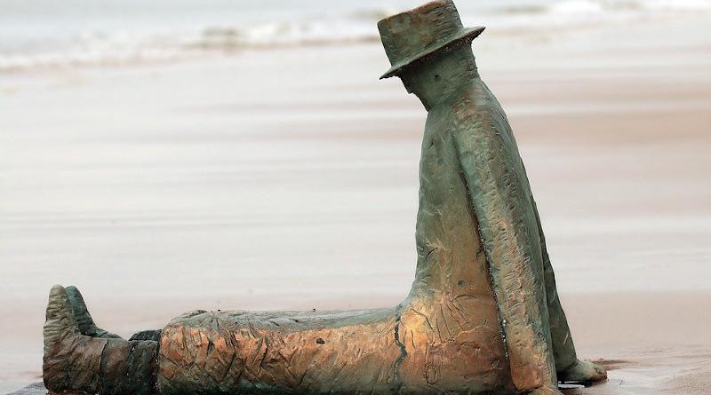 Belgium Statue Knokke Beach Man On The Beach