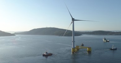 WindFloat Atlantic pre-assembled wind turbine platform being towed. Photo Credit: Repsol
