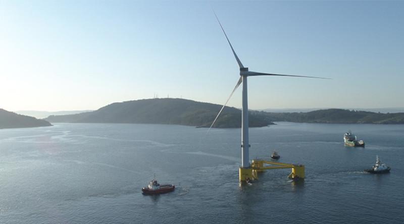 WindFloat Atlantic pre-assembled wind turbine platform being towed. Photo Credit: Repsol