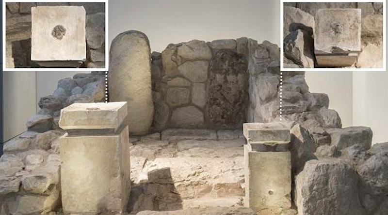 Front view of the shrine at Arad, rebuilt in the Israel Museum. The top - down view of the altars: on where you can see the black residue of cannabis and frankincense CREDIT (Collection of the Israel Antiquities Authority, Photo © The Israel Museum, by Laura Lachman.