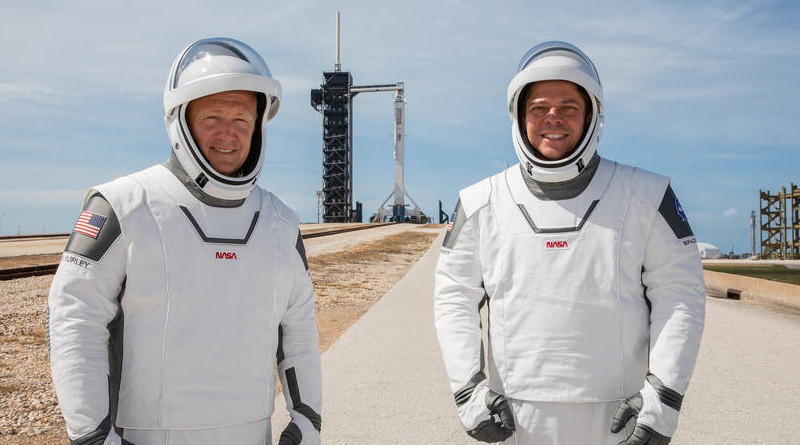 NASA astronauts Douglas Hurley (left) and Robert Behnken (right) participate in a dress rehearsal for launch at the agency's Kennedy Space Center in Florida on May 23, 2020, ahead of NASA's SpaceX Demo-2 mission to the International Space Station. Demo-2 will serve as an end-to-end flight test of SpaceX's crew transportation system, providing valuable data toward NASA certifying the system for regular, crewed missions to the orbiting laboratory under the agency's Commercial Crew Program. Credits: NASA/Kim Shiflett