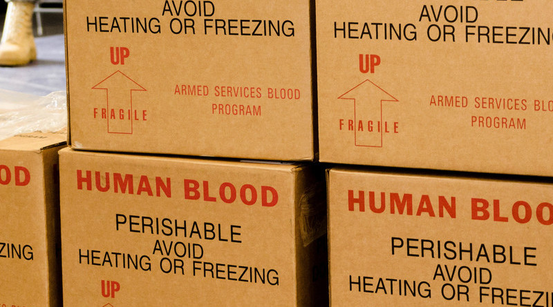 Boxes of donated blood await processing at the Armed Services Blood Program Blood Drive at Fort Knox, Ky. Photo Credit: Army Sgt. William Battle