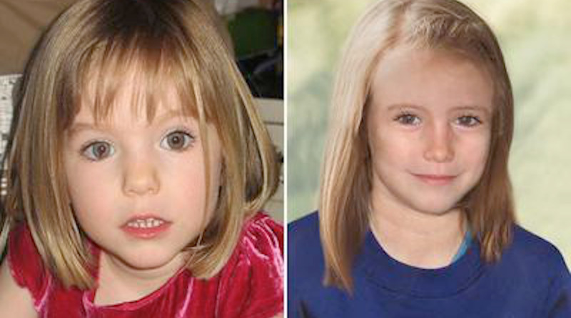 Image of Madeleine McCann at age three, next to an age-progressed depiction of how she may have looked at age nine. Photo Credit: Disappearance of Madeleine McCann, Wikipedia Commons