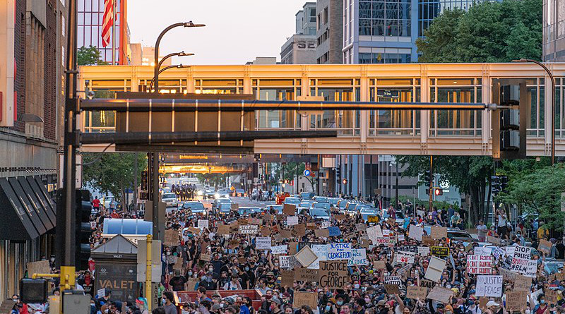 Protesters gather in downtown Minneapolis. Unrest in Minneapolis over the May 25th death of George Floyd. Photo Credit: Chad Davis, Wikipedia Commons