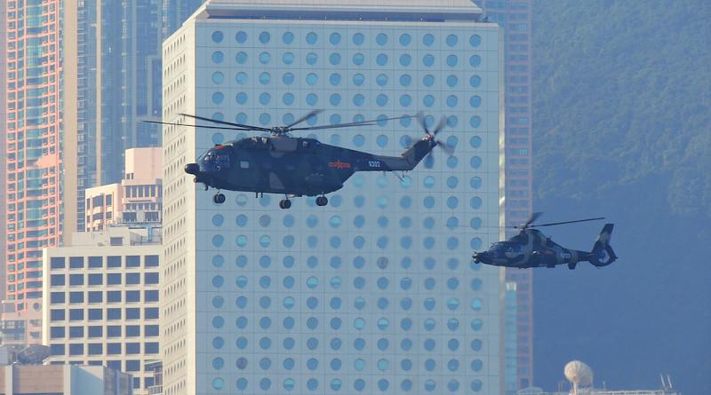 China Hongkong Helicopter Army Asian Hong Kong Victoria
