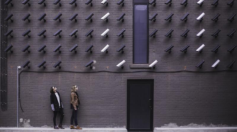 Building Surveillance Cctv Cameras Door Female Ladies Pattern People