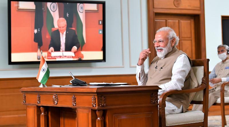 India's Prime Minister Narendra Modi with the Prime Minister of Australia, Mr. Scott Morrison at the India - Australia Leaders Virtual Summit, in New Delhi on June 04, 2020. Photo Credit: India PM Office