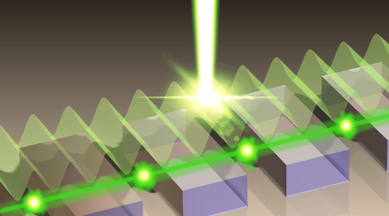 A phase-locking scheme for plasmonic lasers is developed in which traveling surface-waves longitudinally couple several metallic microcavities in a surface-emitting laser array. Multi-watt emission is demonstrated for single-mode terahertz lasers in which more photons are radiated from the laser array than those absorbed within the array as optical losses. CREDIT: Yuan Jin, Lehigh University