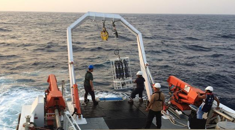 A CTD (a probe measuring temperature, salinity and depth) and rosette sampler is brought on board the RV Thuwal to collect water samples from the surface down to 700 meters at a station off King Abdullah Economic City. CREDIT: © 2020 KAUST