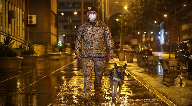 A member of the Peruvian Army with a police dog enforces curfew during coronavirus pandemic. Photo Credit: Ministerio de Defensa del Perú
