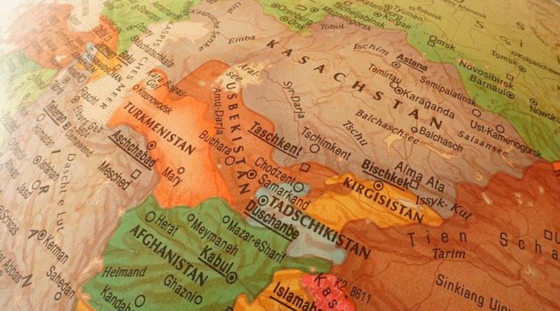 central asia map globe